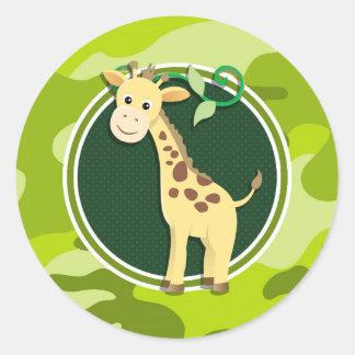 Giraffe; bright green camo, camouflage round sticker