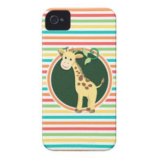 Giraffe Bright Rainbow Stripes iPhone 4 Covers