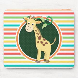 Giraffe; Bright Rainbow Stripes Mouse Pad