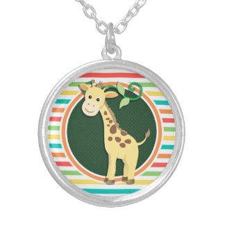 Giraffe Bright Rainbow Stripes Pendants