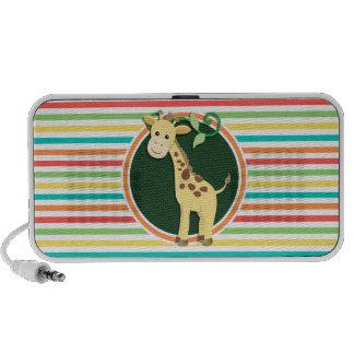 Giraffe Bright Rainbow Stripes iPod Speakers