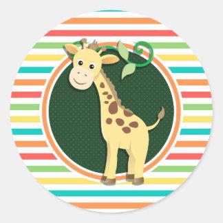 Giraffe; Bright Rainbow Stripes Sticker