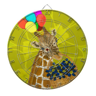 Giraffe brings congratulations. dartboard