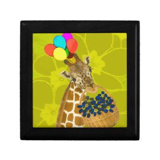 Giraffe brings congratulations. gift box