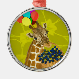 Giraffe brings congratulations. metal ornament