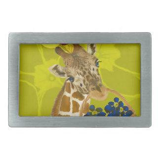 Giraffe brings congratulations. rectangular belt buckles
