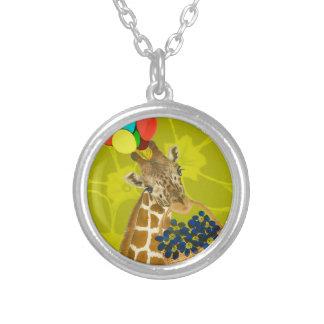 Giraffe brings congratulations. silver plated necklace