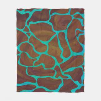 Giraffe Brown and Teal Print Fleece Blanket