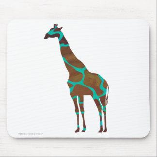 Giraffe Brown and Teal Print Mouse Pad