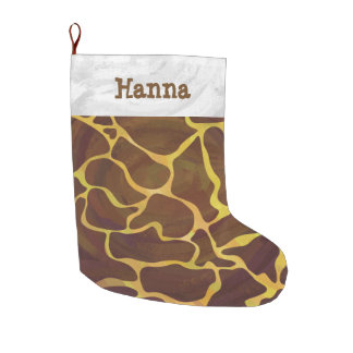 Giraffe Brown and Yellow Large Christmas Stocking