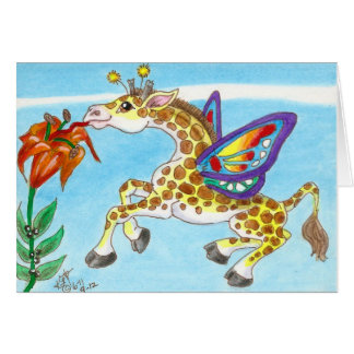 Giraffe Butterfly Sipping on a Lily Fantasy Art Greeting Card