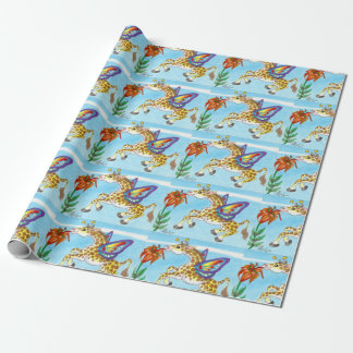 Giraffe Butterfly Sipping on a Lily Fantasy Art Wrapping Paper