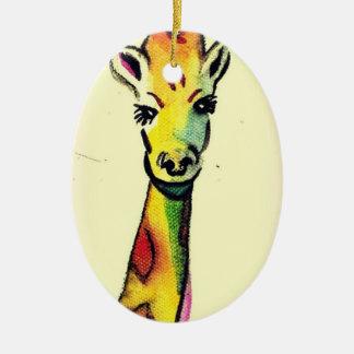 Giraffe Cartoon Ceramic Ornament