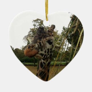 Giraffe Ceramic Heart Decoration