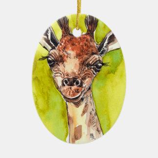 Giraffe Ceramic Oval Decoration
