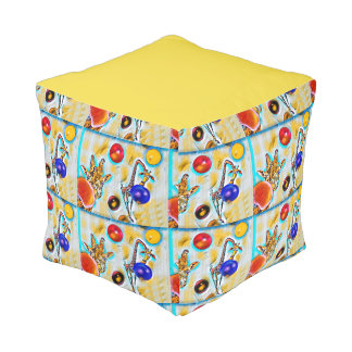 Giraffe Colourful Cube Pouf