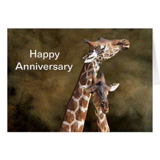 Giraffe Couple Snuggle Personalised Anniversary Ca Card