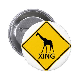 Giraffe Crossing Highway Sign Pins