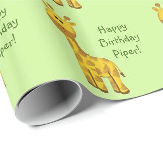 Giraffe Custom Name Wrapping Paper