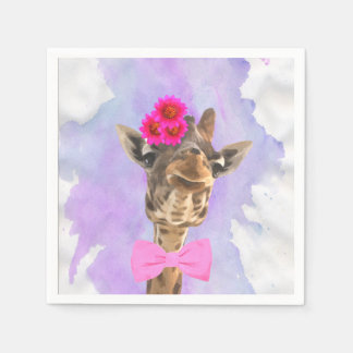 Giraffe cute funny jungle animal watercolor disposable serviette
