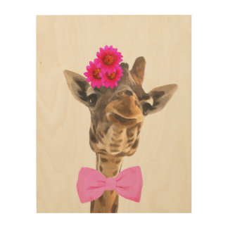 Giraffe cute funny jungle animal watercolor wood wall art