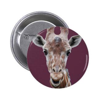 giraffe cutout plum pinback buttons