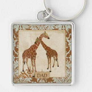 Giraffe Dad Damask Keychain