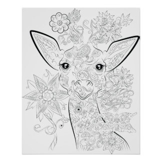 giraffe drawing adult colouring poster