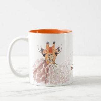 Giraffe drawing with caption: Giraffe a cuppa joe? Two-Tone Coffee Mug