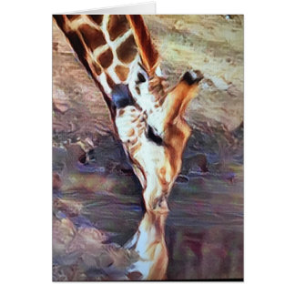 Giraffe Drinking Card