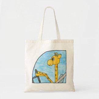 Giraffe Driving a Car. Tote Bag