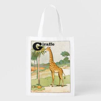 Giraffe Eating Acacia in the Desert Reusable Grocery Bag