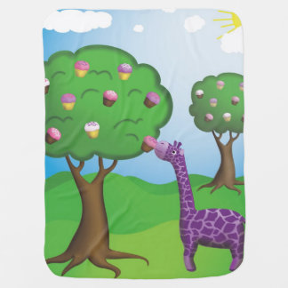 Giraffe Eating Fresh Cupcake Baby Blanket