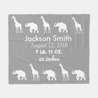 Giraffe & Elephant Baby Personalised Fleece Blanke