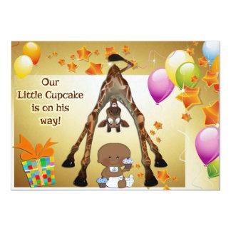 Giraffe, Ethnic Baby Boy and Cupcakes Baby Shower Invitation