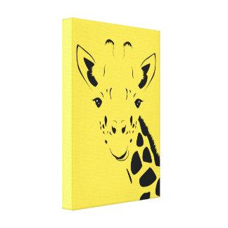 Giraffe Face Silhouette Canvas Print