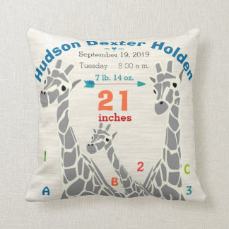 Giraffe Family Baby Boy Birth Record Birth Stats Cushion
