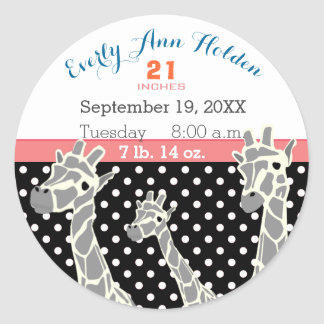 Giraffe Family Baby Girl Birth Record Birth Stats Round Sticker