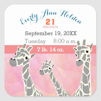 Giraffe Family Baby Girl Birth Record Birth Stats Square Sticker