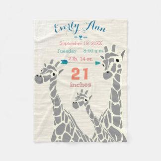 Giraffe Family Baby Girl Stats Birth Record Fleece Blanket