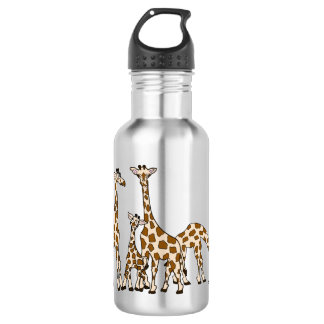 Giraffe Family In Brown and Beige Water Bottle