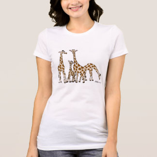 Giraffe Family In Brown and Beige Woman's Tshirt