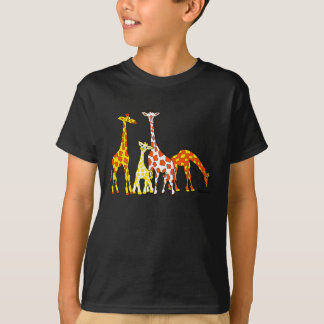 Giraffe Family In Orange and Yellow Kid's Tshirt