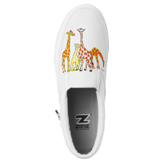 Giraffe Family In Orange and Yellow Slipon Shoes Printed Shoes