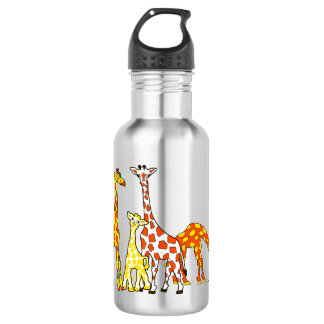 Giraffe Family In Orange and Yellow Water Bottle