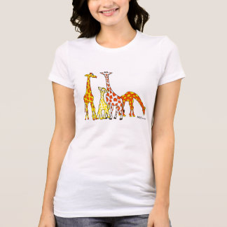 Giraffe Family In Orange and Yellow Woman's Tshirt