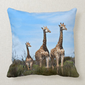 Giraffe Family On Grassy Hilltop Cushion