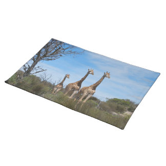 Giraffe Family On Grassy Hilltop Placemat