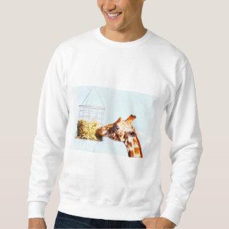 Giraffe feeding from overhead basket sweatshirt