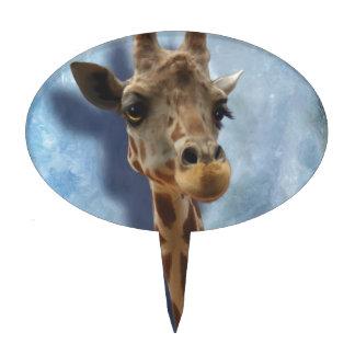 Giraffe Fine Art Portrait of Heshimu Cake Topper